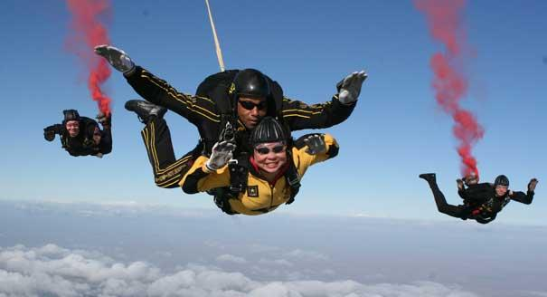 Tammy skydiving.  Photo credit:  Reuters